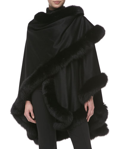 Fox Fur-Trimmed Cashmere U-Cape, Black