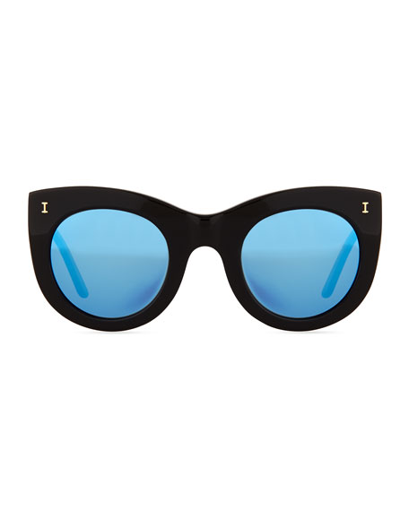 Boca Mirrored Cat-Eye Sunglasses, Black