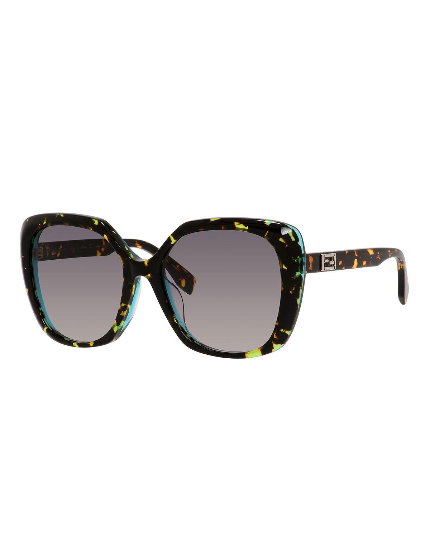 Fendi Universal-Fit Square Sunglasses, Havana   Neiman Marcus