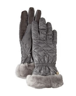 Quilted Gloves w/ Shearling Fur Cuffs