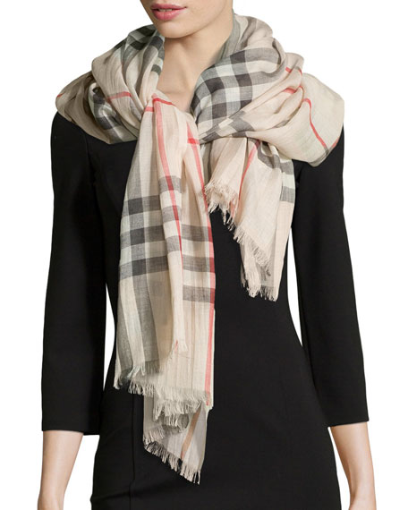 Burberry Giant Check Gauze Scarf, Stone