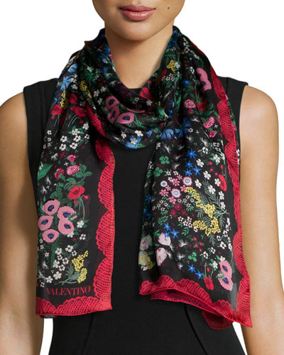 Camugarden Floral Shawl, Black Multi