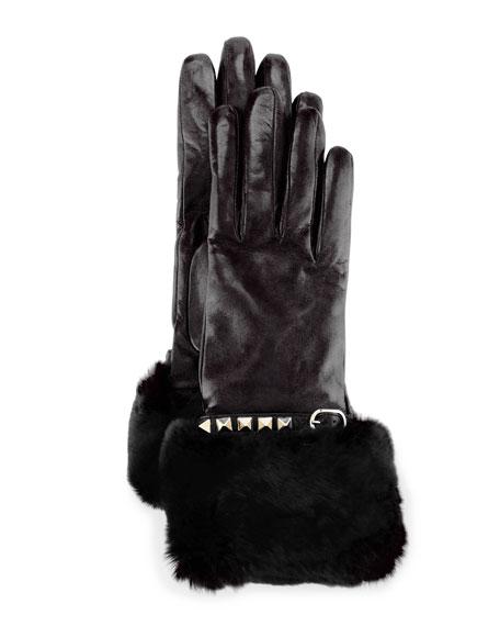 Rockstud Leather Gloves with Fur Cuffs