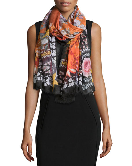 Givenchy Paradise Flowers Cashmere-Silk Scarf, Black/Orange