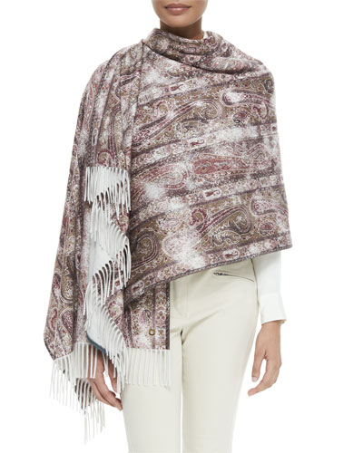 Agra Cashmere Paisley-Print Stole, Spanish Pink