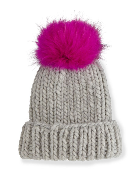 Rain Hat with Fur Pom Pom, Gray/Pink