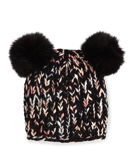 Mimi Knit Hat with Fur Pom Poms, Black/Pink