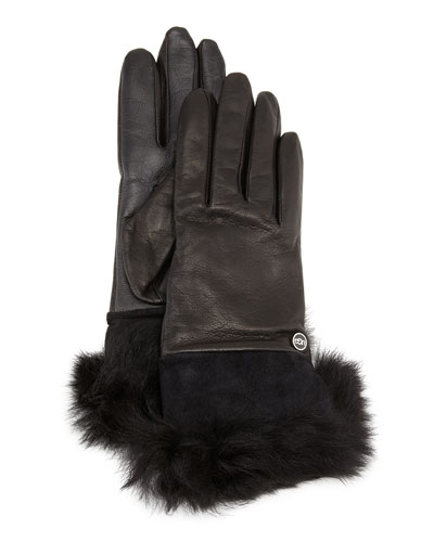 Quinn Leather Fur-Cuff Tech Gloves, Black