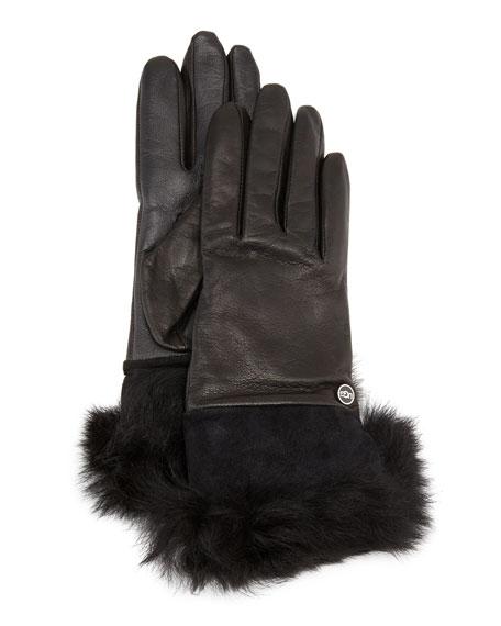UGG Quinn Leather Fur-Cuff Tech Gloves, Black