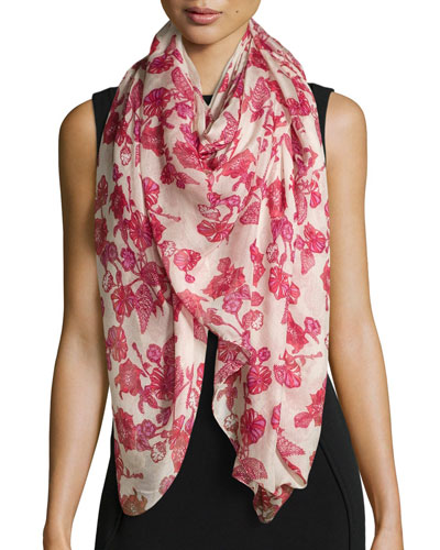 Floral-Print Scarf, Red Multi