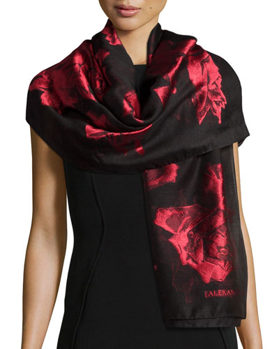 Large Roses Printed Stole, Black/Red