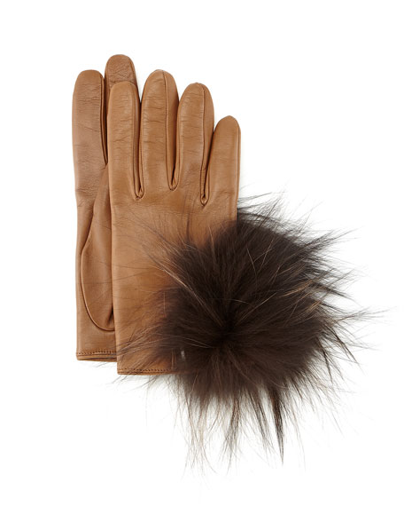 Inverni Leather Gloves with Fox Fur, Brown