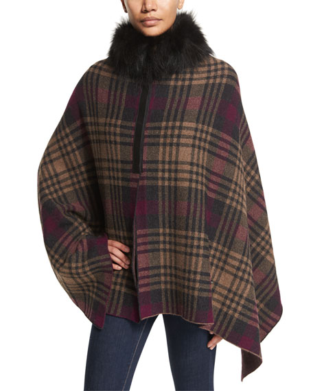Inverni Plaid Fur-Trim Poncho, Wine/Charcoal