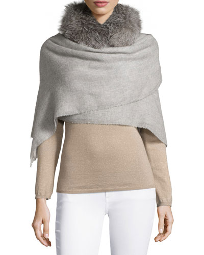 Fur-Trimmed Boucle Scarf