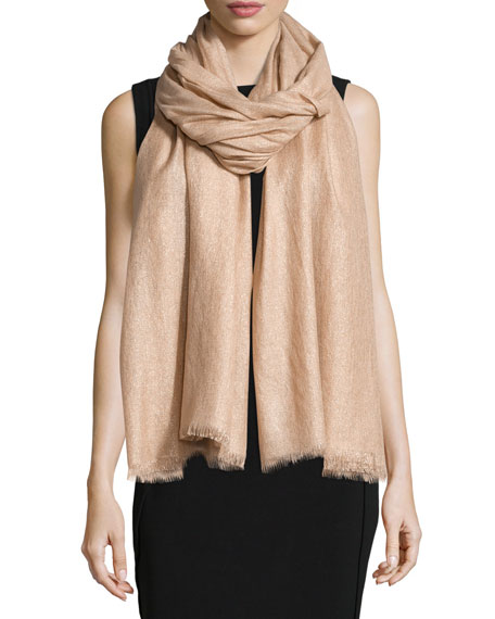 Brunello Cucinelli Cashmere-Blend Shimmer Scarf, Cameo