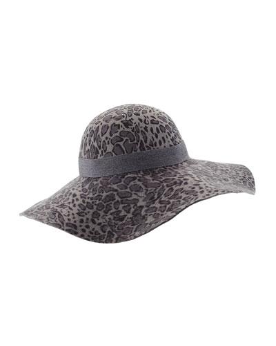 Mala Floppy-Brim Hat, Leopard Print