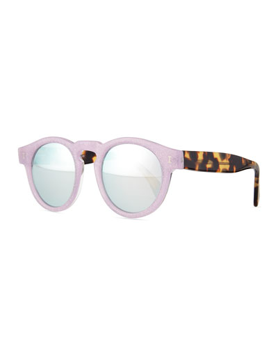 Leonard Round Sunglasses, Purple/Brown