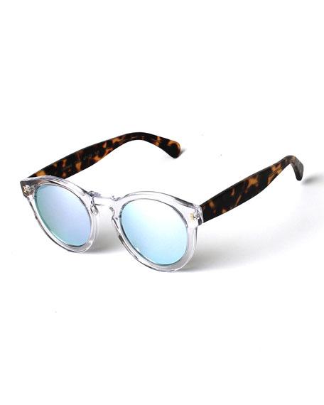 Leonard Round Mirrored Sunglasses, Clear