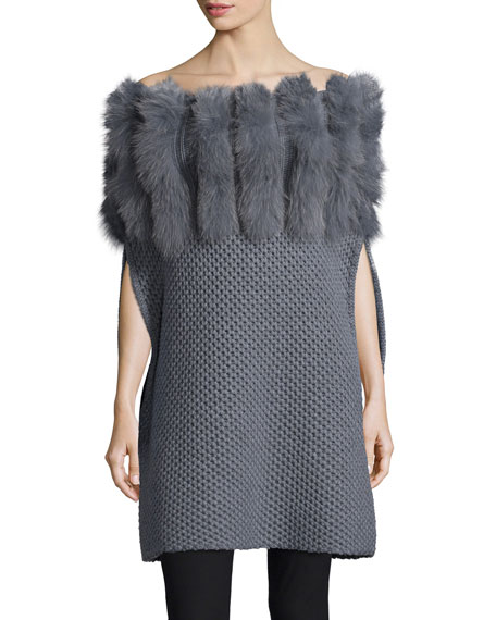 Roberto Cavalli Fur-Trim Convertible-Neck Knit Poncho