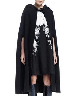 Wool-Blend Hooded Cape, Black