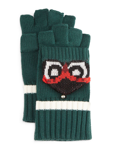 kate spade new york owl pop top mittens