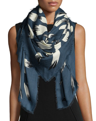 Bamboo Leaves Woven Scarf, Petrol