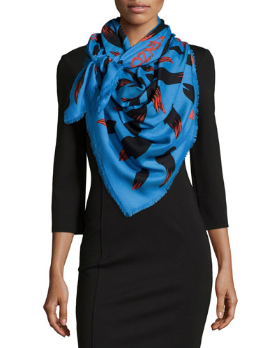 Bamboo Leaves Defilé Scarf, Blue/Red