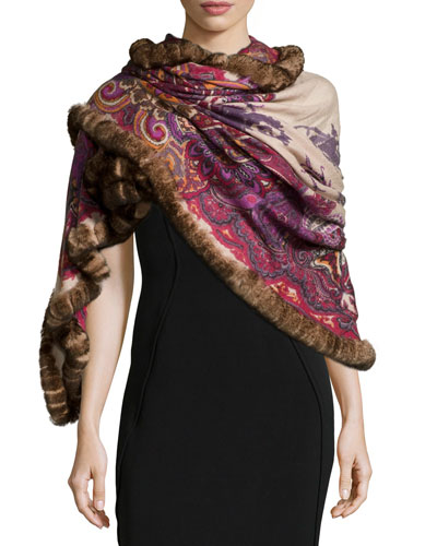 Paisley Cashmere Wrap W/Fur Trim, Red