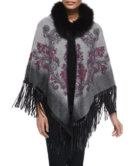 Paisley Cape w/Fur Trim & Leather Fringe