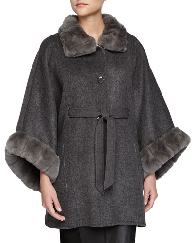 Cape w/High-Neck Fur Trim, Gray