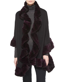 Wrap w/Rabbit Fur Trim, Black/Purple