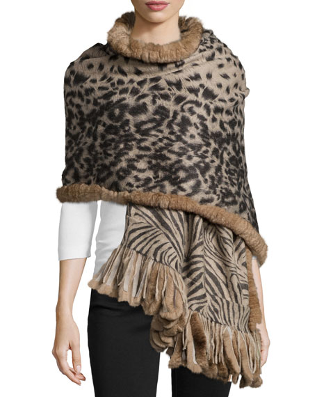 La Fiorentina Cashmere Reversible Animal-Print Wrap w/Fur Trim,