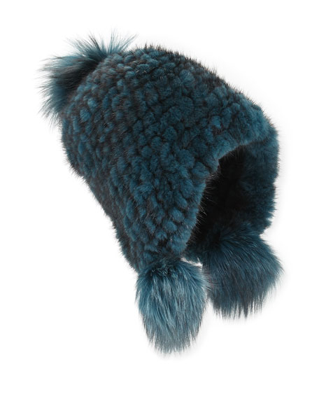 Knitted Mink Fur Hat w/Pom-Poms