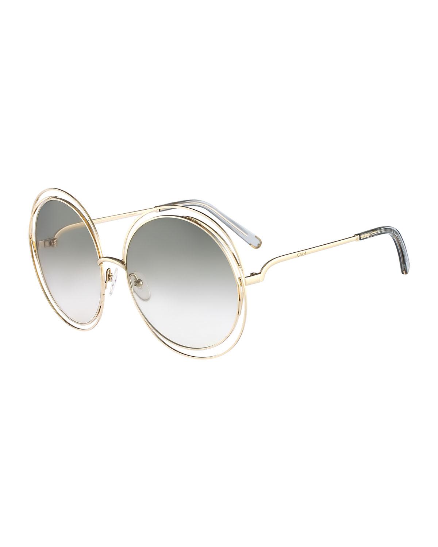 72ae3e7d1a22 Chloe Carlina Round Wire-Frame Sunglasses