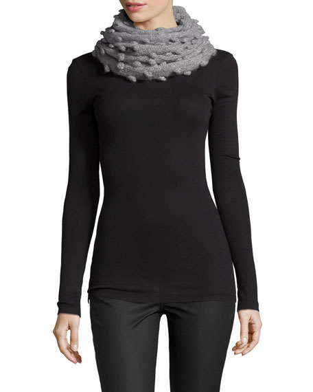 Kathryn McCarron Popcorn-Stitch Snood/Scarf, Light Gray