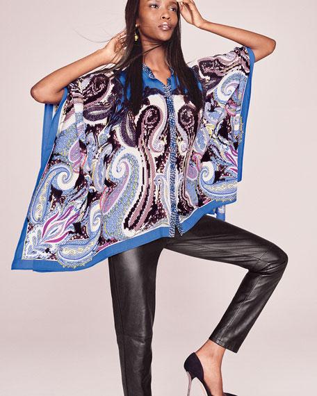Paisley-Print Scarf Poncho, Blue