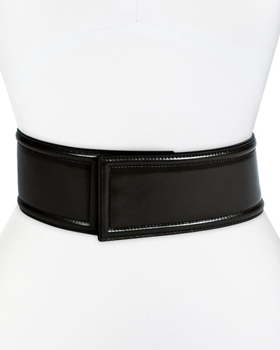 Pipe-Trimmed Snap-Back Belt, Black