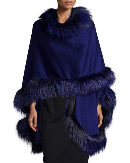 Fox-Fur-Trim Cashmere Cape, Cobalt