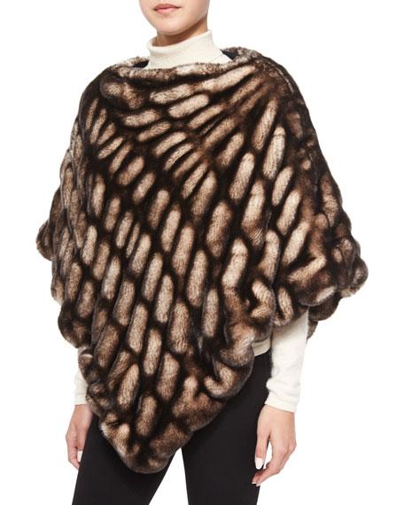 Fabulous Furs Faux-Mink Poncho, Shadow