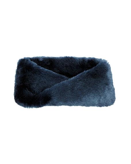 Faux-Fur Infinity Scarf, Blue