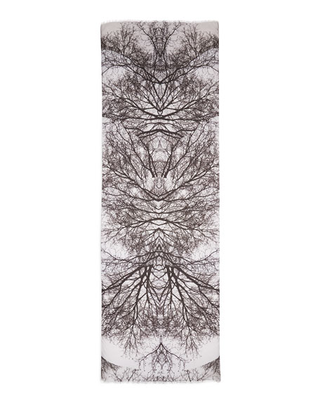 Hamadryad Tree-Print Scarf, Gray Floral