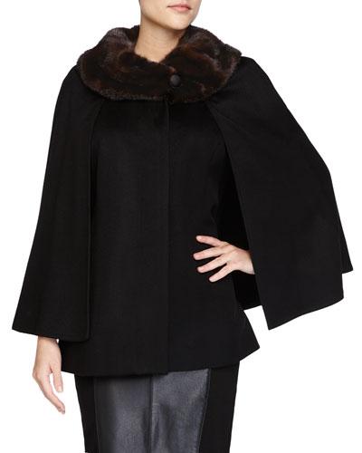 Fur-Collar Short Cashmere Cape