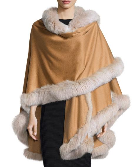 Fur-Trim Cashmere Cape, Camel