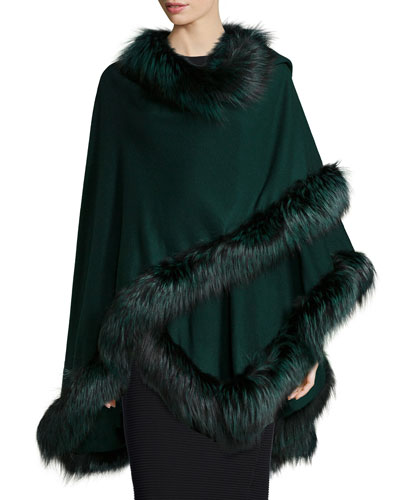 Fox-Fur-Trim Cashmere Cape, Green