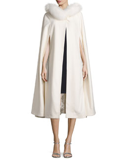 Fur-Trim Cashmere Hooded Cape, White