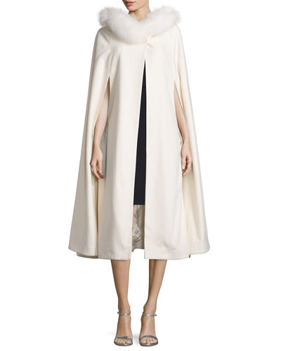 Fur-Trim Cashmere Hooded Cape, White