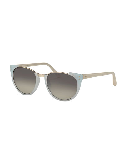 Cutoff-Top Slight Cat-Eye Sunglasses, Matte Iris Blue