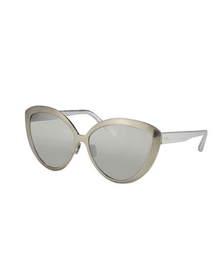 Linda Farrow Cat-Eye Sunglasses w/ Snake Arms, White