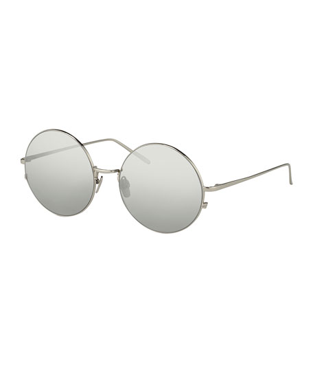Linda Farrow Round Wire Sunglasses, White Metal