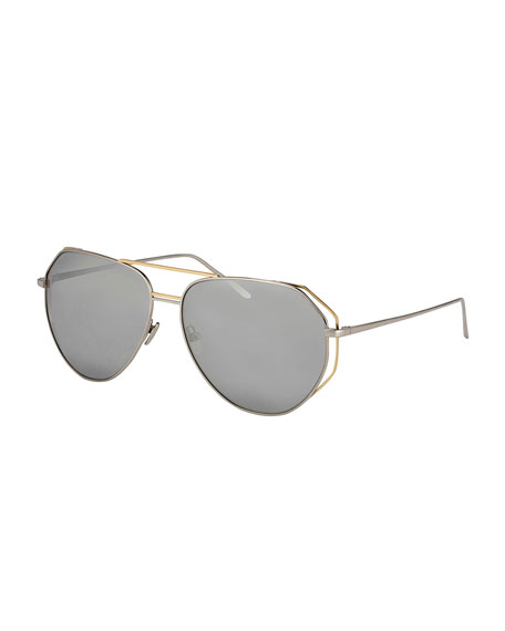 Linda Farrow Double-Rim Angled Aviator Sunglasses, White Metal